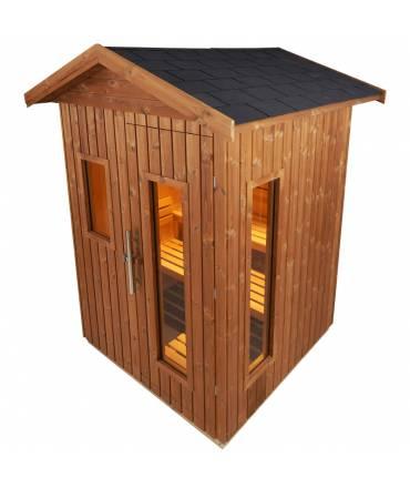 Sauna d'extérieur 2 pers. 1m44 x 1m44 avec options vitre